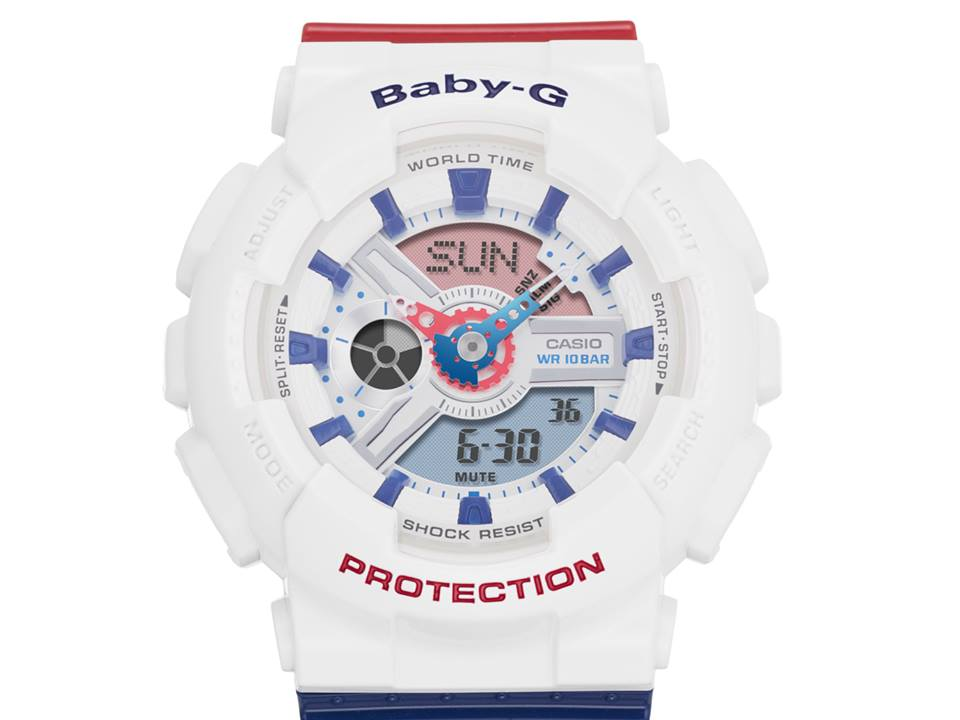 Baby-G White Tricolor Series BA-110TR-7A-2