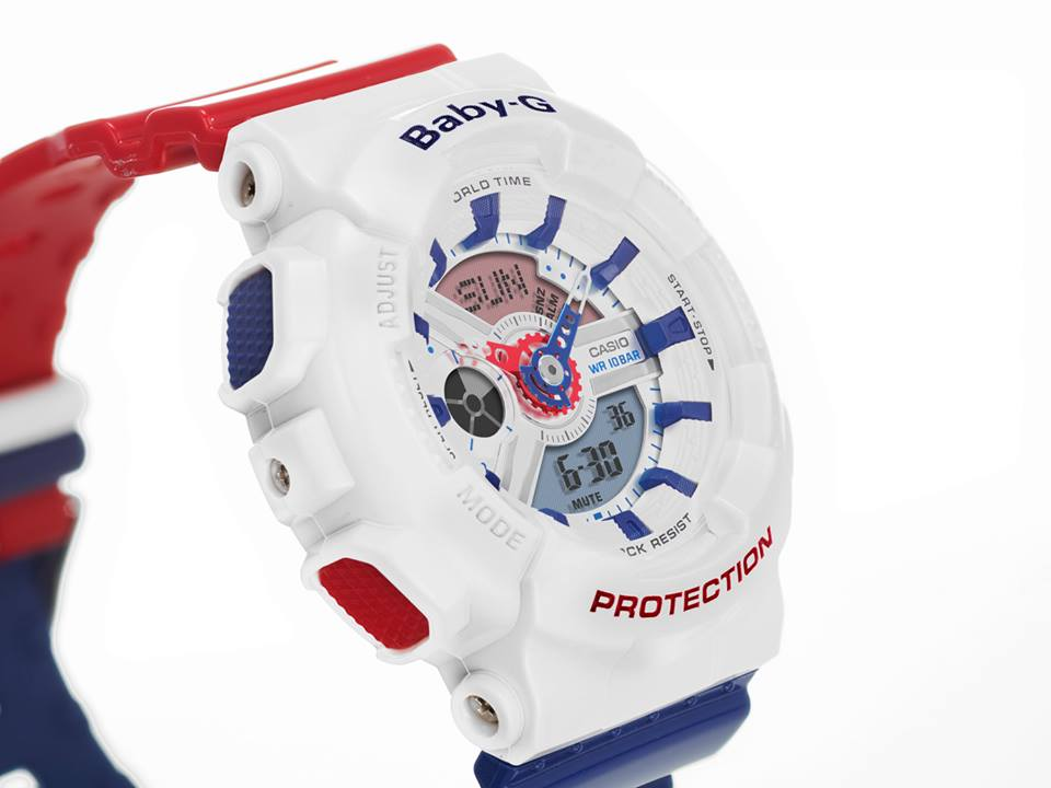 Baby-G White Tricolor Series BA-110TR-7A-4