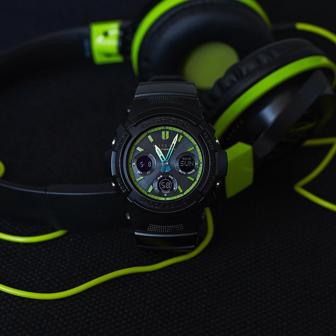 [Live Photos] G-Shock Lime Accent Color Series AWG-M100SLY-1A