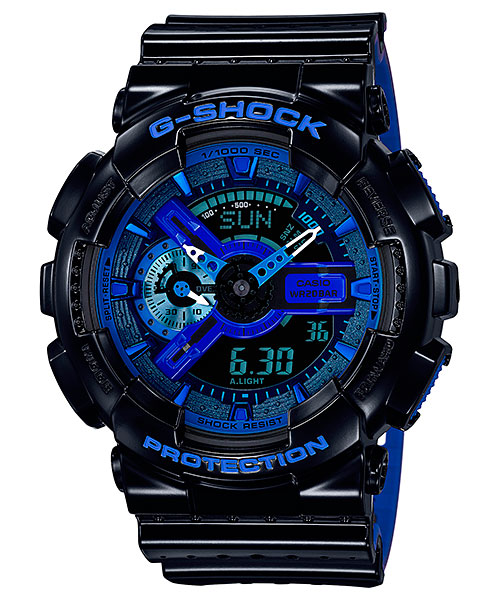 [August 2016] G-Shock black, green, white, blue & magenta GA-110LP