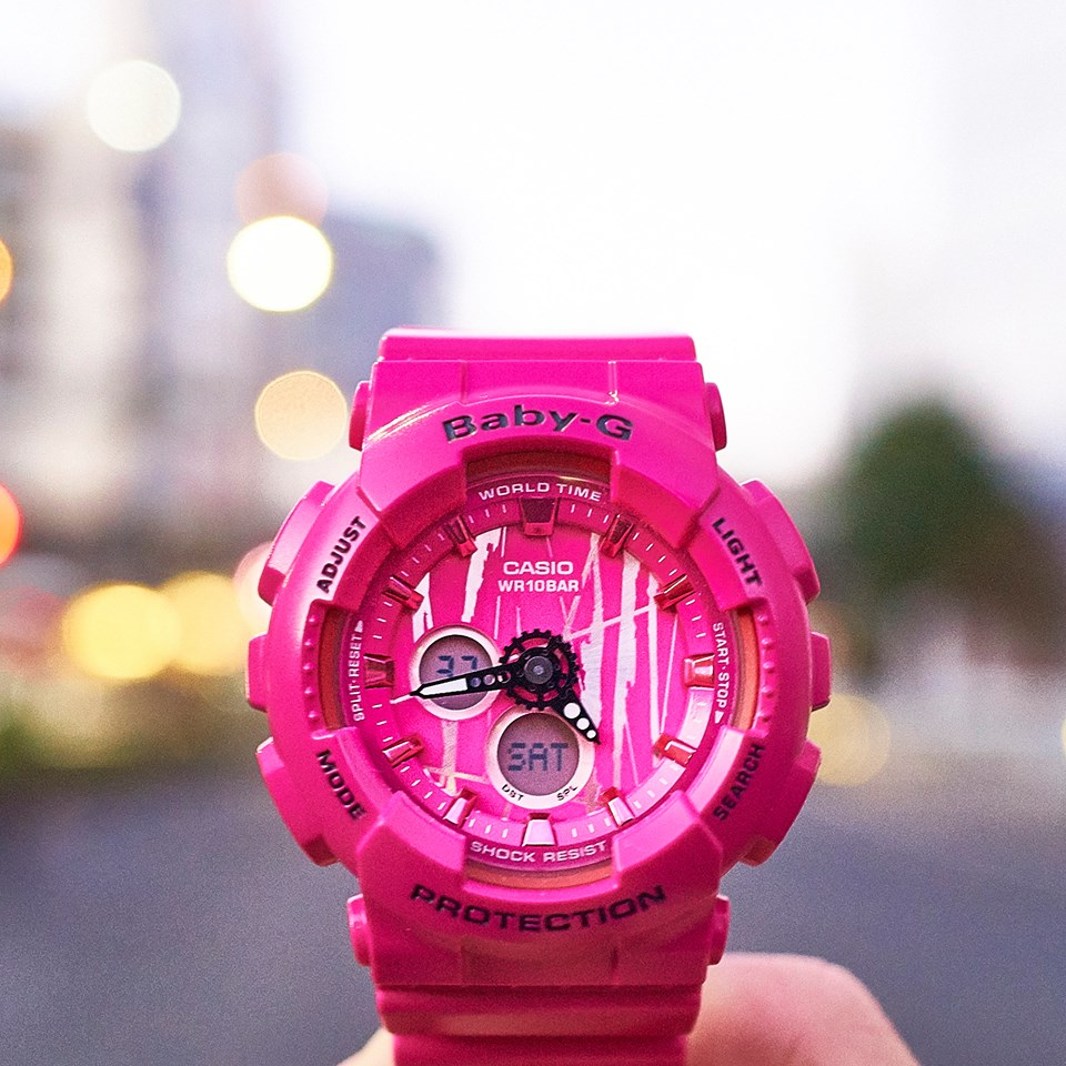 [Live Photos] Baby-G BA-120SP-4A — Cute in pink but cool in visuals