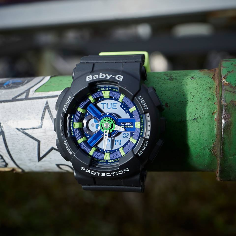 [Live Photos] Baby-G BA-110PP-1A — This cool model mixed black and neon green