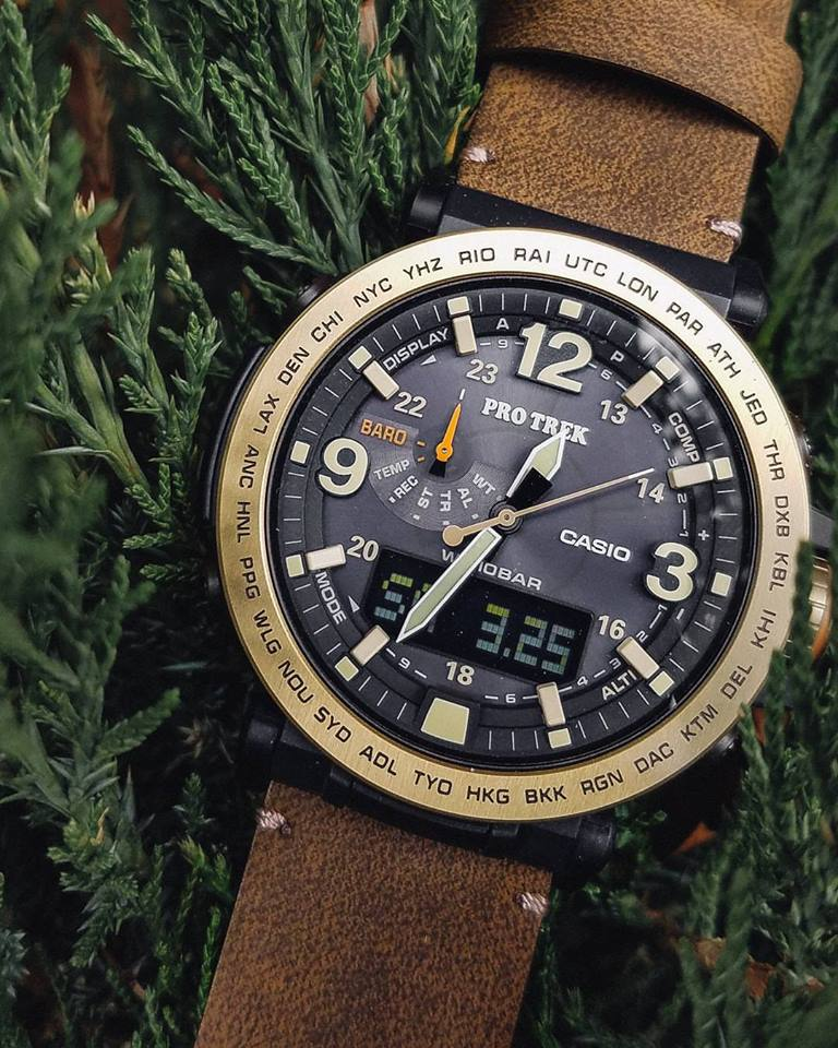 [Live Photos] ProTrek PRG-600YL with brown leather band