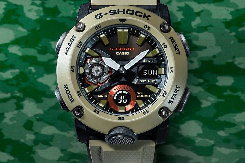 [Live Photos] G-Shock GA-2000 — Carbon Core Guard and Military Colors